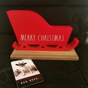 Rae Dunn Red Wood Sleigh MERRY CHRISTMAS